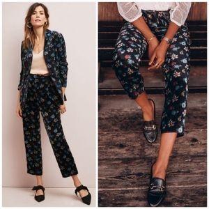 🆕NWT Anthropologie Ribbed Floral Velvet Pants